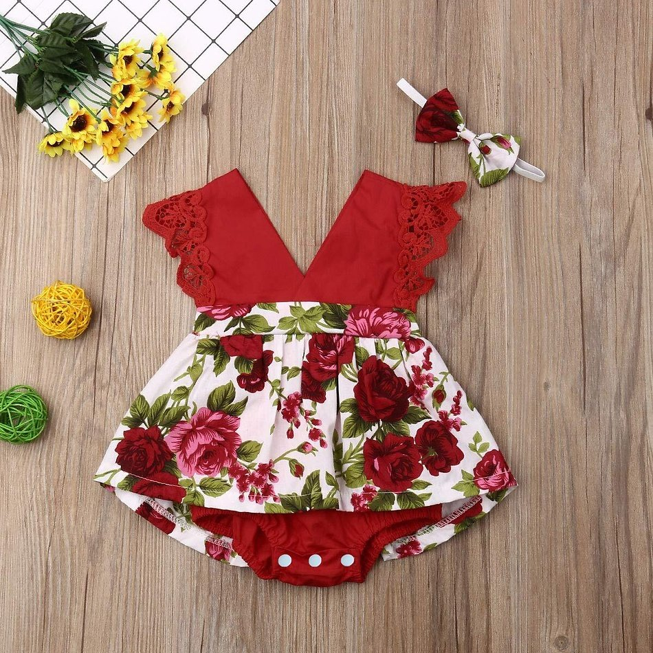 Baby Girl Floral Allover Sleeveless Romper