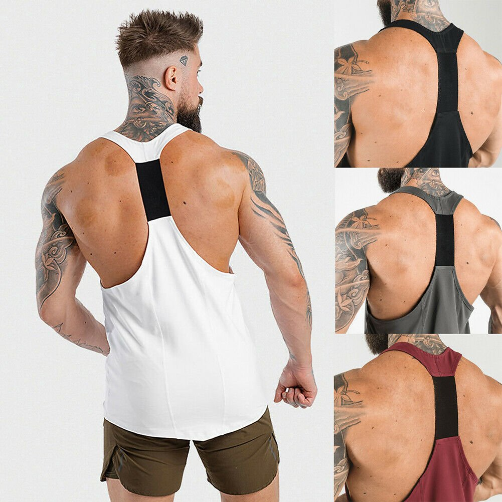 US $3.65 14% OFF|New Casual Men's Fitness Sleeveless Tank Tops Gym Sports Running Vest Slim Muscle Bodybuilding Male Exercise Tee Tank Tops|Tank Tops| - AliExpress