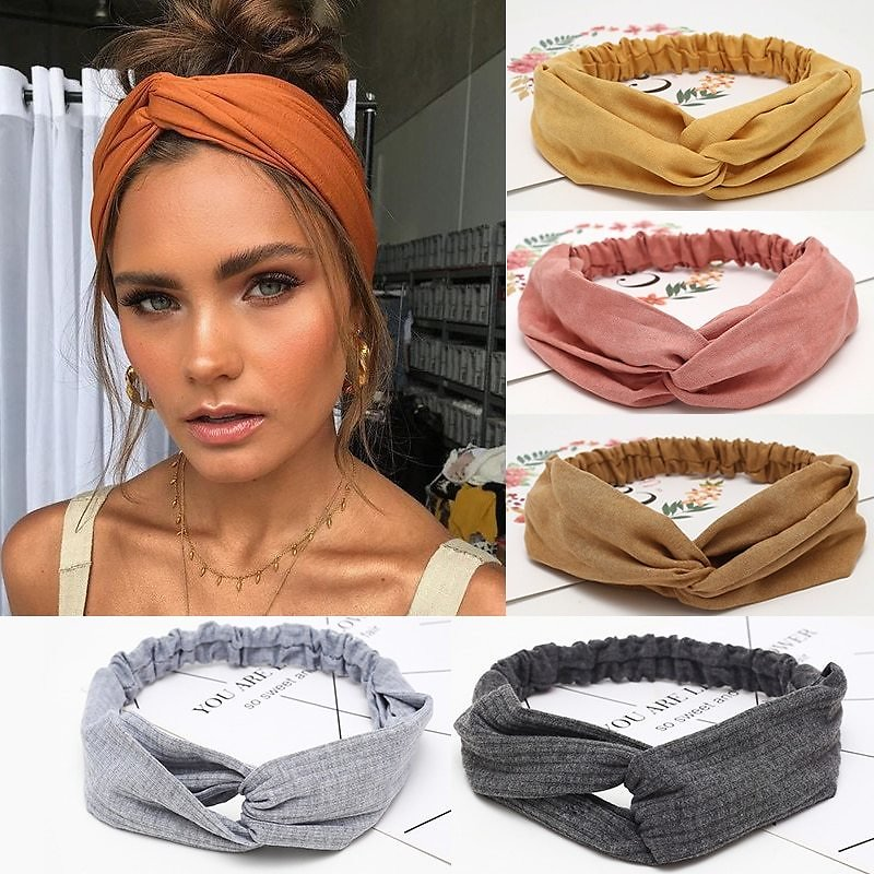 US $0.57 35% OFF|Women Headband Cross Top Knot Elastic Hair Bands Soft Solid Color Girls Hairband Hair Accessories Twisted Knotted Headwrap| | - AliExpress