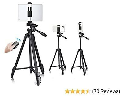 Phone Tablet Tripod, VICTIV 55inch Ultra-Portable Travel Tripod Stand, 2020 New Lightweight Compact Tripod with Phone/Tablet Clip & Wireless Remote for Smartphone & IPad Video Shooting - 1 Pack
