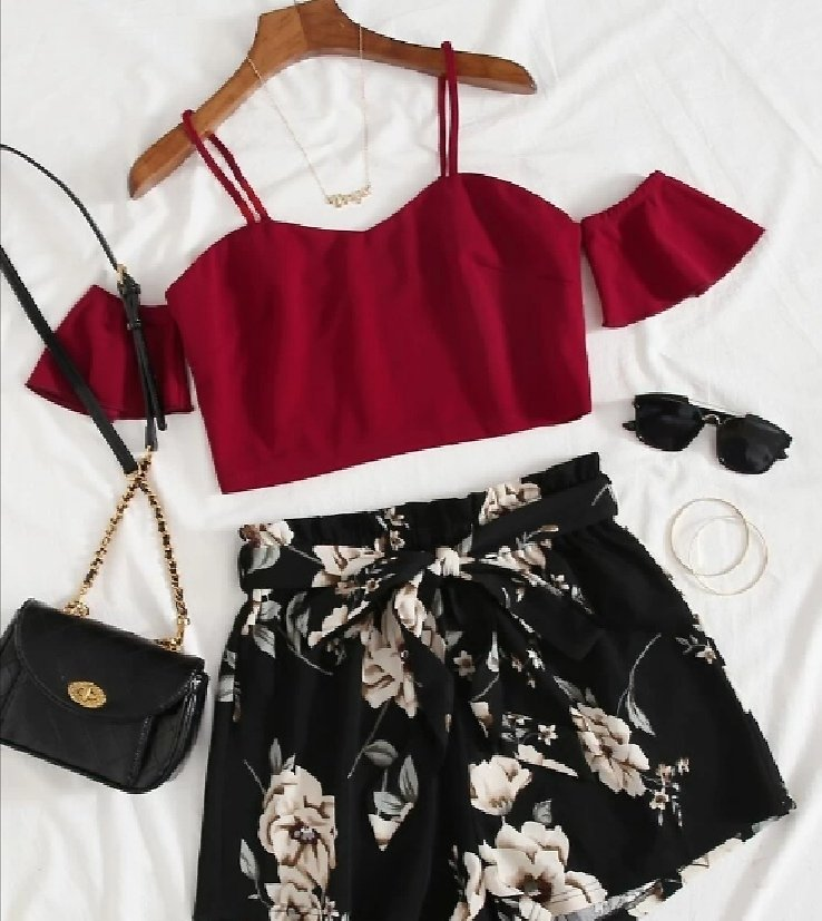 Cold Shoulder Top & Paperbag Waist Floral Shorts Set