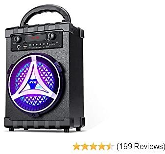 JYX Portable Karaoke Machine Bluetooth Rechargeable PA Speaker System for Kids & Adults, Support FM Radio, REC, USB/TF Card, AUX IN, Perfect for Indoor & Outdoor Party