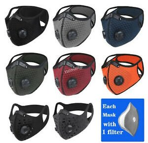 Fashion Face Mask With Active Carbon Filter Breathing Valves Reusable Washable