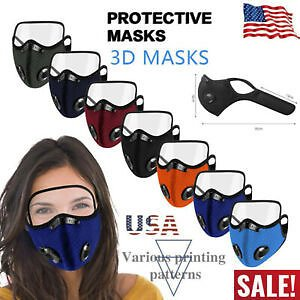 Reusable Air Valve Cycling Sport Face Mask Cover Carbon Filter With Eyes Shield