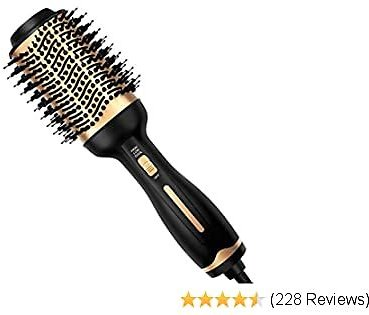 Hair Dryer Brush, Blow Hair Dryer And Volumizer 3 in 1 Blow Dryer Styler Brush Professional Negative Ion Ceramic Anti-Scald Hot Air Brush for Rotating Straightening, Curling