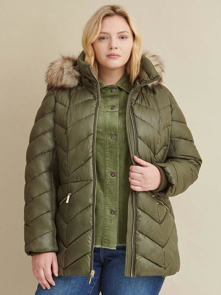 Plus Size Elastic Side Mid-Length Puffer