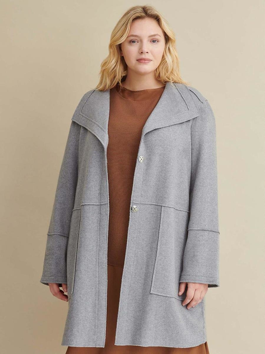 Plus Size Long Wool Sweater - Wilsons Leather