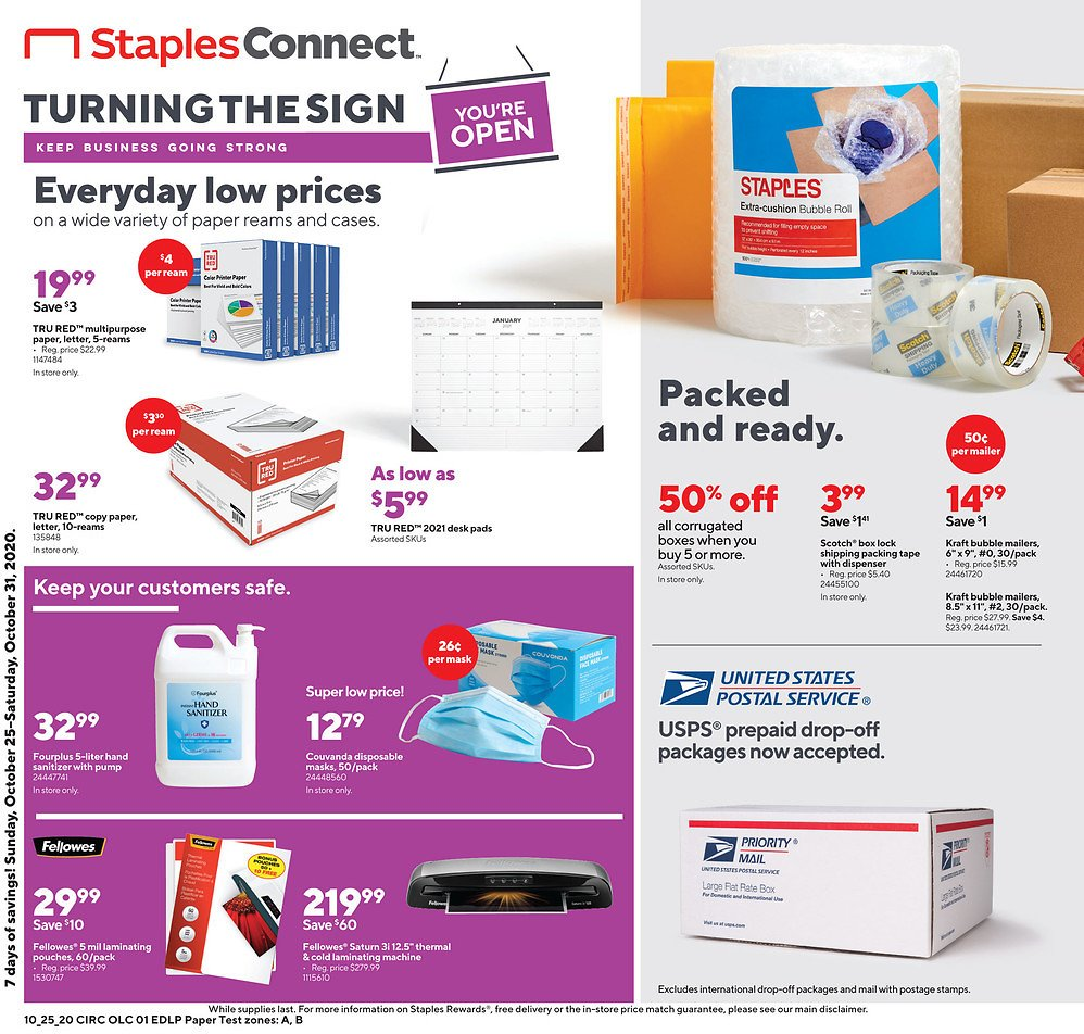 Staples Weekly Ad 10/25-10/31