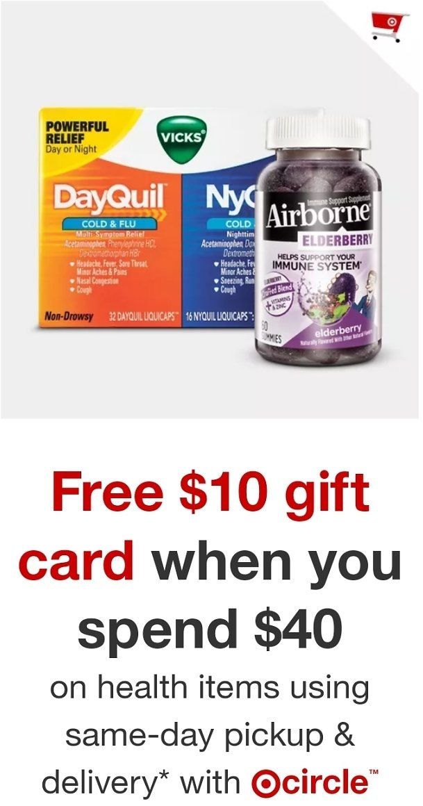 Free $10 Gift Card When You Spend $40 On Select Health Products : Target