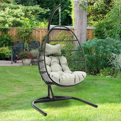 Hanging Egg Swing Chair Outdoor/ Indoor Wicker Hanging Basket Swing Chair Single Seat Basket Seat Hanging Egg Chair with Cushion