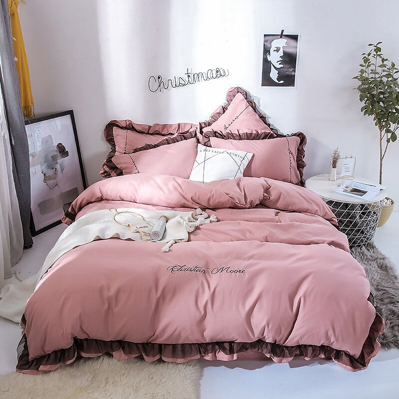 4Pcs Solid Color Embroidery Lace Purfle Bedding Set Soft-smooth Duvet Cover Sheet Pillowcases King