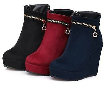 New Ladies Zip Decor Wedge Heels Side Zip Ankle Boots Party Club Casual Shoes B