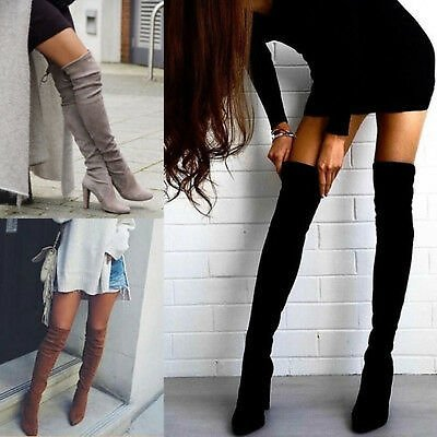 Plus Size Women Toe Lace Up Boot Shoes Over Knee Stretch Thigh High Heel Boots
