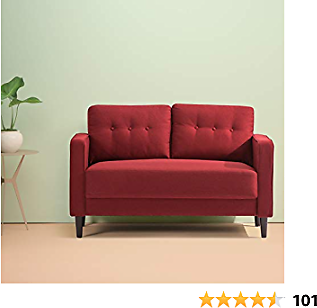 Zinus Mikhail Mid-Century Loveseat Sofa / Ruby Red Sofa Couch / Button Tufted