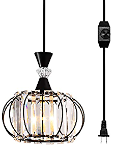 LBTSMUK Hanging Lamps Swag Lights Plug in Pendant Light 16 FT Cord and Chain/Hanging Pendant Light Cage In-Line On/Off Dimmer Switch for Kitchen Island, Dining Room, Entryway,Black Finish
