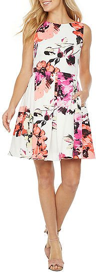 Women Sleeveless Floral Fit & Flare Dress