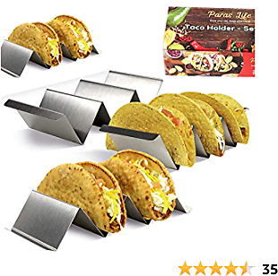 Taco Stand Holders Set of 4 By ParasLife - Stainless Steel Racks with Handles - Elegant Kitchen Gadget for Baking Holding and Serving Tacos - Oven Grill Dishwasher Safe - Organizer for Messy Wraps