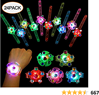 SCIONE Party Favors for Kids 24 Pack Light Up Bracelets Classroom Prizes Box Glow in The Dark Party Supplies Girls Boys Birthday Halloween Christmas Party Favor Wristband LED Fidget Toys Bulk