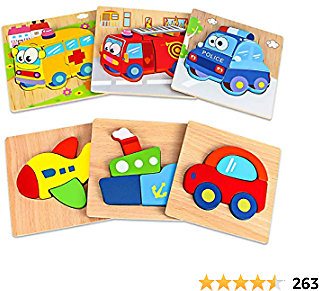 Dreampark Wooden Jigsaw Puzzles, 6 Pack Vehicle Puzzles for Kids Toddlers 1 2 3 Years Old Educational Toys Gifts for Boys and Girls