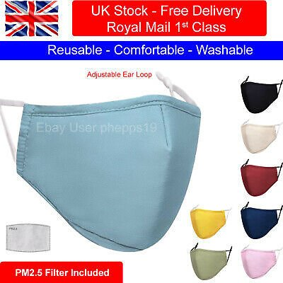 Cotton Face Mask Washable Reusable Breathable with PM2.5 Filter & Filter Pocket