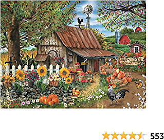Bits and Pieces - 500 Piece Jigsaw Puzzle for Adults - Bountiful Meadows Farm - 500 Pc Sunflowers, Pumpkins, Farm Scene Jigsaw By Artist Thomas Wood