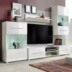 VidaXL Wall-Mounted TV Stand With LED Light 5Pcs Wall Cabinet Standing Cabinet W
