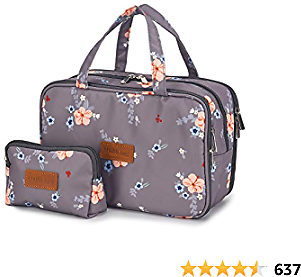 Travel Makeup Bag Toiletry Bags Large Cosmetic Cases for Women Girls Water-resistant (gray Floral / Makeup Bag Set)