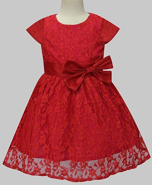 Scarlet Lace Bow-Accent Overlay Cap-Sleeve Dress - Infant, Toddler & Girls