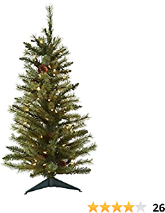 Nearly Natural 5441 Christmas Tree with Pine Cones and Clear Lights, 3-Feet, Green