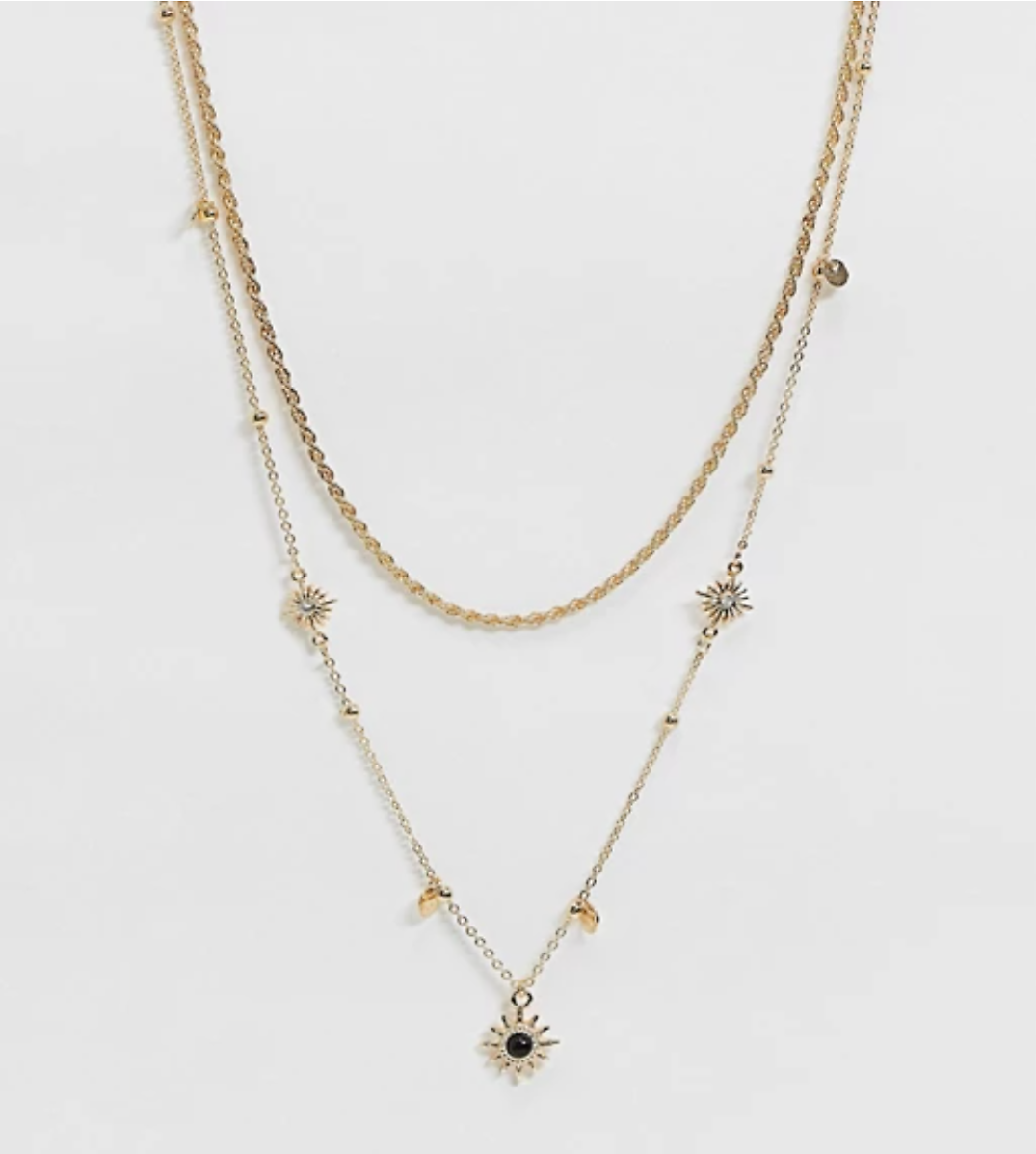 30% OFF Multirow Necklace with Celestial Star Charms and Faux Black Stone in Gold Tone | ASOS