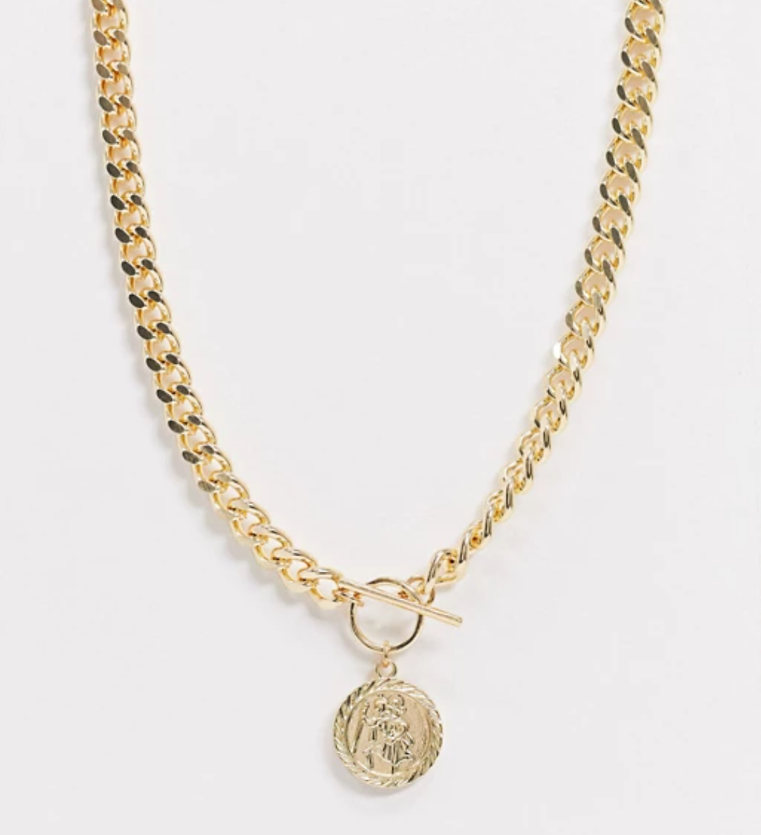 25% OFF Curve T Bar Necklace with Coin in Gold Tone | ASOS