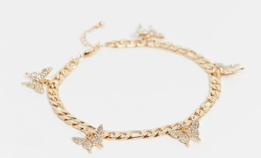 25% OFF Curve Anklet with Butterfly Charms in Gold Tone | ASOS