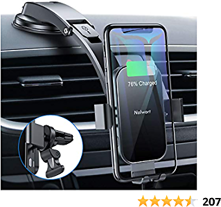 Nalwort Wireless Car Charger 15W Qi Fast Charge Metal Frame Dashboard and Air Vent Phone Holder Auto Clamping Wireless Car Charger Mount Compatible for IPhone 12/11, Samsung S20/S10 and More