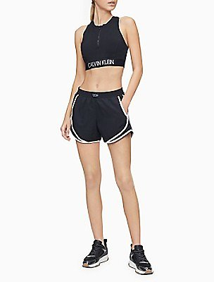 Performance Logo Patch Piped Mesh Shorts   Calvin Klein