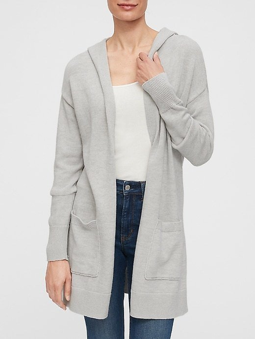 Open-Front Hooded Cardigan