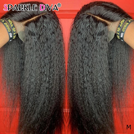 Kinky Straight T Part Lace Wig Human Hair Wigs Brazilain Remy Hair 150% Density 5 Inch Deep Part Lace Human Hair Wigs For Women