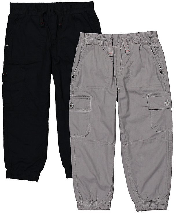 Black & Ice Gray Lined Cargo Pants Set - Toddler