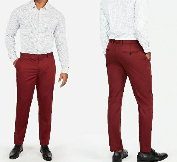 Extra Slim Burgundy Cotton Sateen Stretch Suit Pant