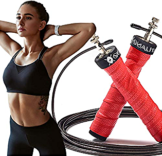 QUALITAM Premium Weighted Adjustable Jump Rope Set with Cooling Towel, Steel Weights, Carrying Pouch, Stainless Steel Bearings, Great for Fitness, Cardio, Workout, Training, Ideal for Women and Men