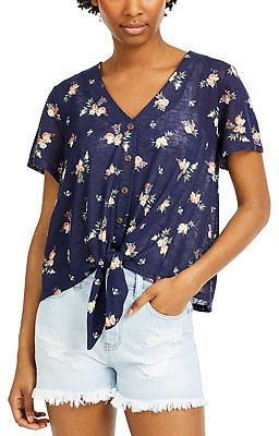 Hippie Rose Juniors' Floral-Print Tie-Front Top & Reviews - Tops - Juniors