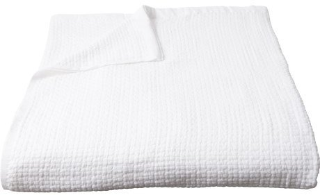 Peacock Alley 100% Long-Staple Cotton Patsy Basket-Weave Blanket - Queen, White