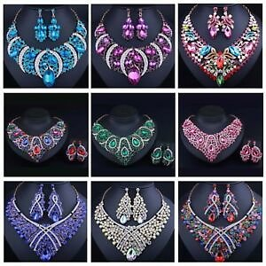 Fashion Bib Choker Crystal Pendant Statement Necklace Earrings Party Jewelry Set