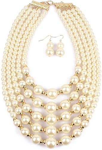 Thkmeet Women 5 Layers Faux Pearl Bead Cluster Bib Statement Collar Necklace Earrings Women Fashion Jewerly Set