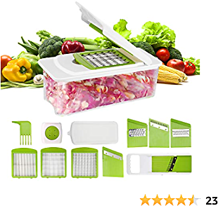 Vegetable Chopper Manual 7 in 1 Vegetable Cutter Grater Mandoline Slicer Peeler Cheese Onion Food Chopper Dicer Pro Fruit Veggie Chopper Potato Slicer Interchangeable Multi Blades Kitchen
