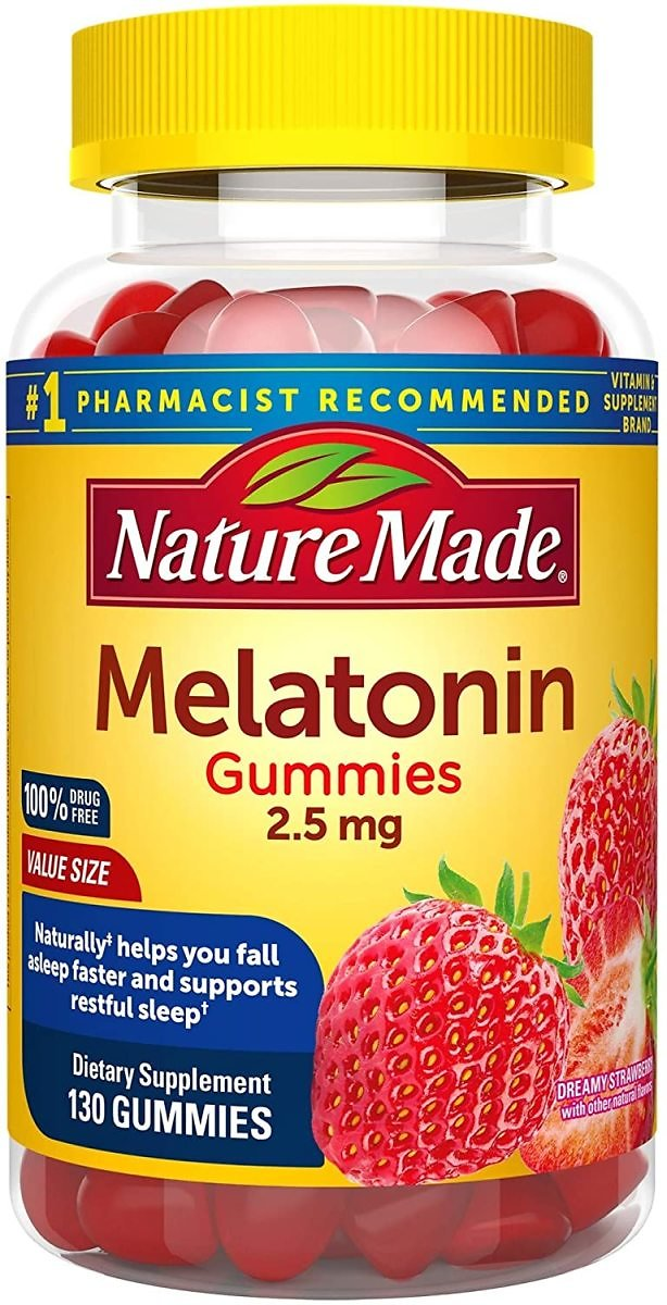 Nature Made Melatonin Gummies 2.5 Mg, 130 Count for Supporting Restful Sleep