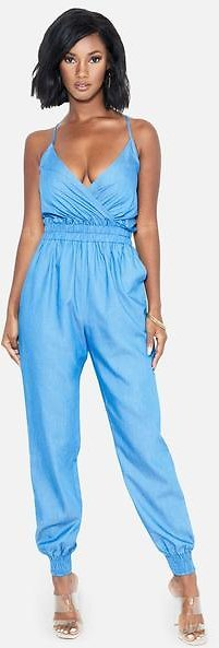 Smocked Waist Denim Jumpsuit