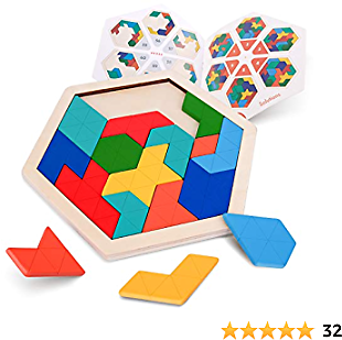 Vanmor Wooden Hexagon Tangram Puzzle for Kids Adults - Geometry Shape Pattern Blocks Brain Teaser Toy with 60 Solution, Fun Challenging Logic Mind Game STEM Activity for All Ages