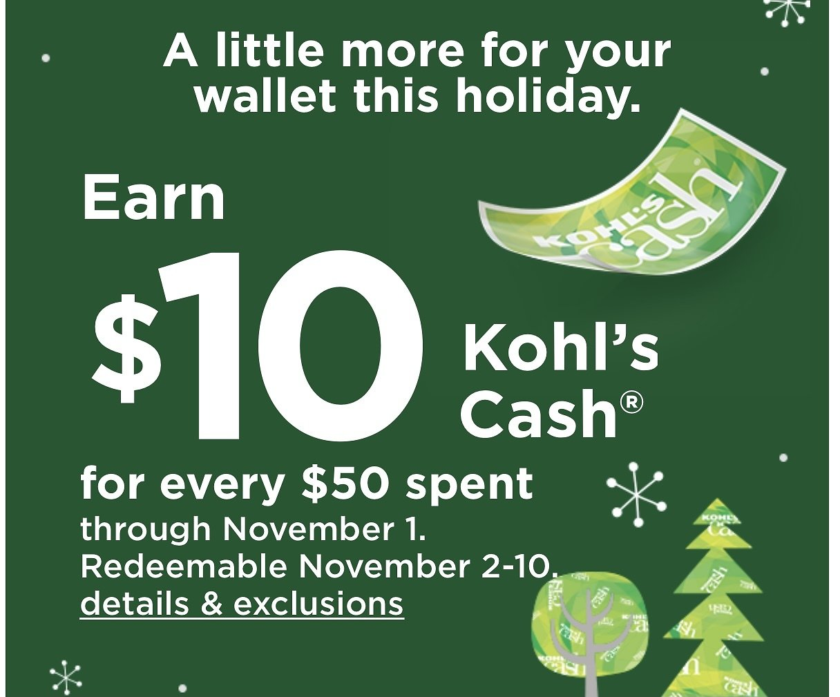 $10 Kohl's Cash With Every $50 + 20% Coupon