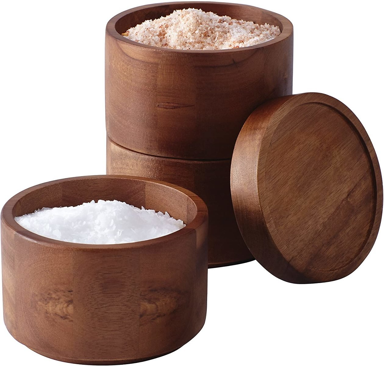 Rachael Ray Pantryware Wood Salt Cellar Stacking Set / Wood Salt Box Stacking Set3 Piece, Brown
