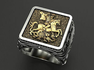 Two Tone Unique Mens ICONOGRAPHIC St GEORGE Men's Ring 925 Silver Signet Dragon